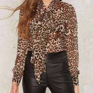 NASTY GAL Leopard Print Sheer Pussy Bow Blouse XS